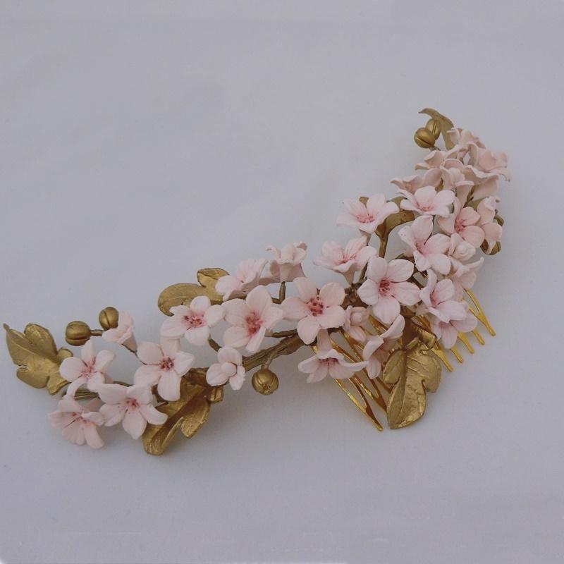 Tocado flores porcelana #N06